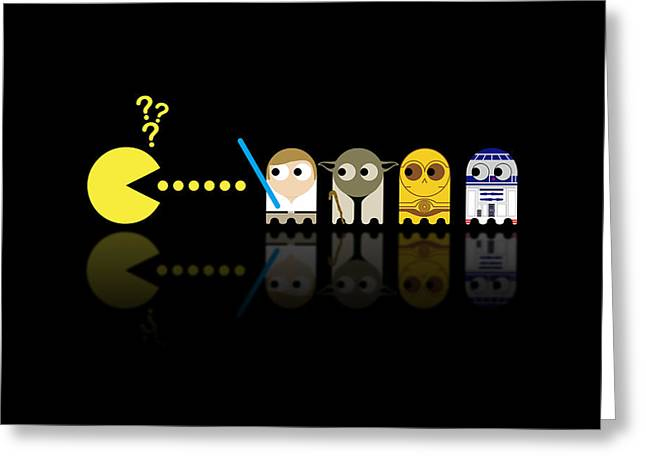 Looking Up Greeting Cards - Pacman Star Wars - 3 Greeting Card by NicoWriter