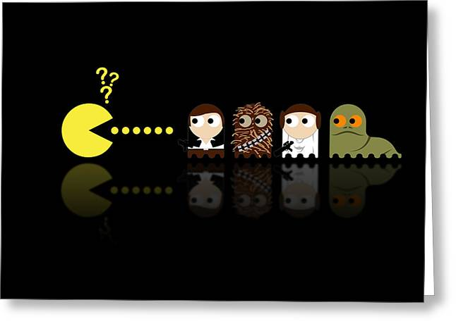 Star Greeting Cards - Pacman Star Wars - 4 Greeting Card by NicoWriter