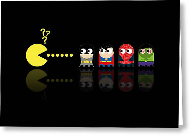 Batman Greeting Cards - Pacman Superheroes Greeting Card by NicoWriter