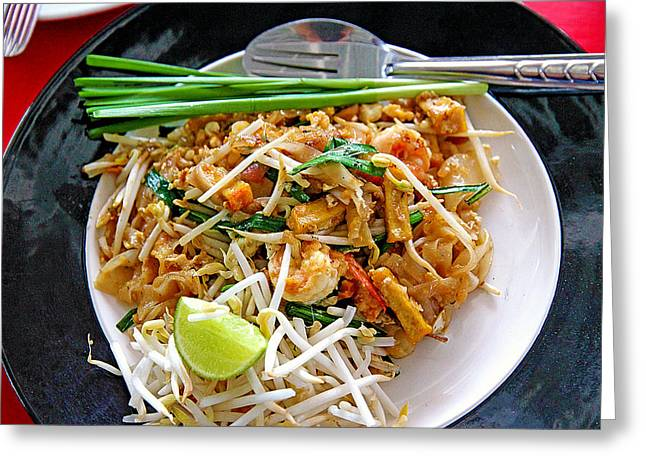 Recently Sold -  - Noodles Greeting Cards - Pad Thai Noodles With Shrimp Greeting Card by Evan Peller