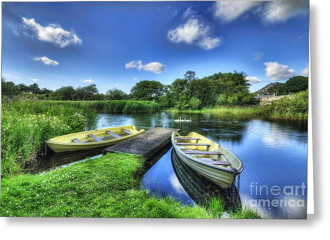 Jetty View Park Greeting Cards - Padarn Boats Greeting Card by Darren Wilkes