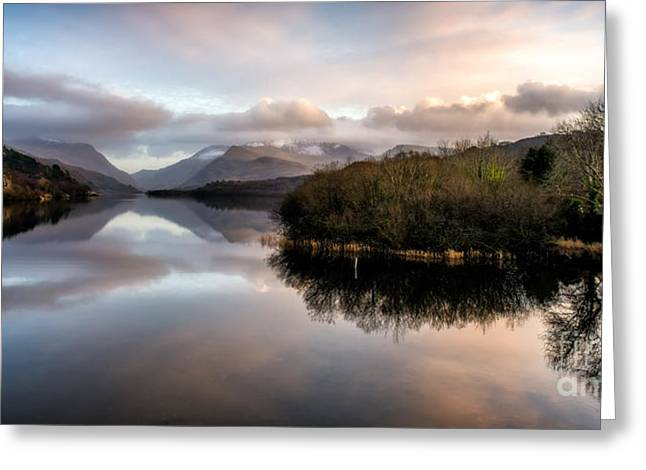 Lakes Digital Greeting Cards - Padarn Lake Sunset Greeting Card by Adrian Evans
