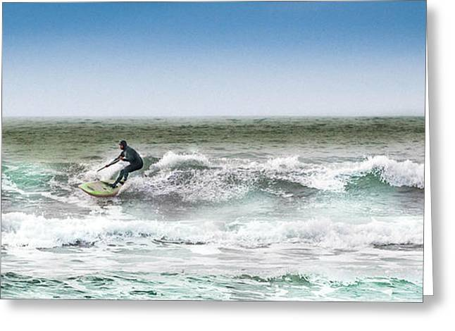 Surf City Greeting Cards - Padddleboarder 2 Greeting Card by Christopher Cutter