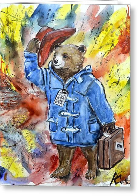 Cute Bear Cartoon Greeting Cards - Paddington Greeting Card by Robert Copithorne