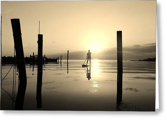 Sailboat Ocean Greeting Cards - Paddle Board Girl Sunset 2 6/4 Greeting Card by Mark Lemmon