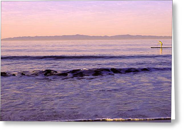 Boarder Greeting Cards - Paddle-boarder In Sea, Santa Rosa Greeting Card by Panoramic Images