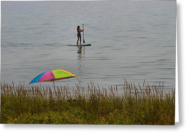 Paddle Boarding On Lake Michigan Greeting Card by Dan Sproul