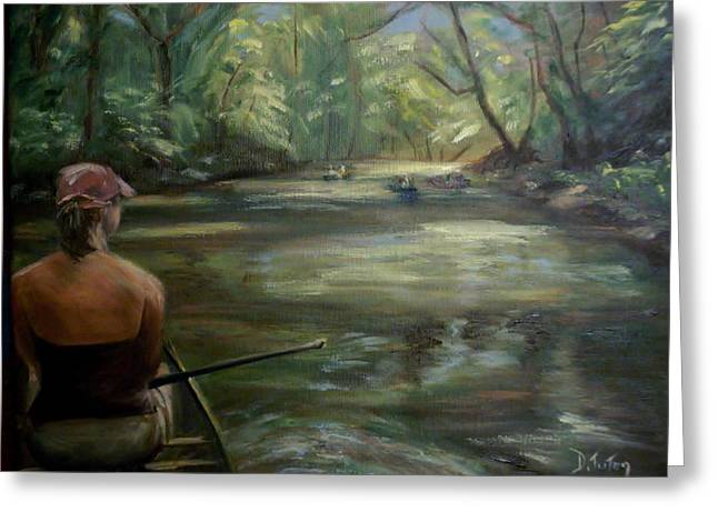 Canoe Paintings Greeting Cards - Paddle Break Greeting Card by Donna Tuten