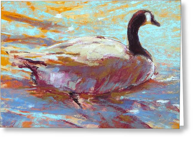 Geese Pastels Greeting Cards - Paddle I Greeting Card by Christine Bodnar