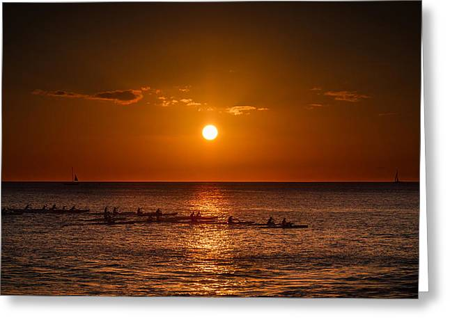 Koolina Greeting Cards - Paddle into the sunset in Hawaii Greeting Card by Tin Lung Chao