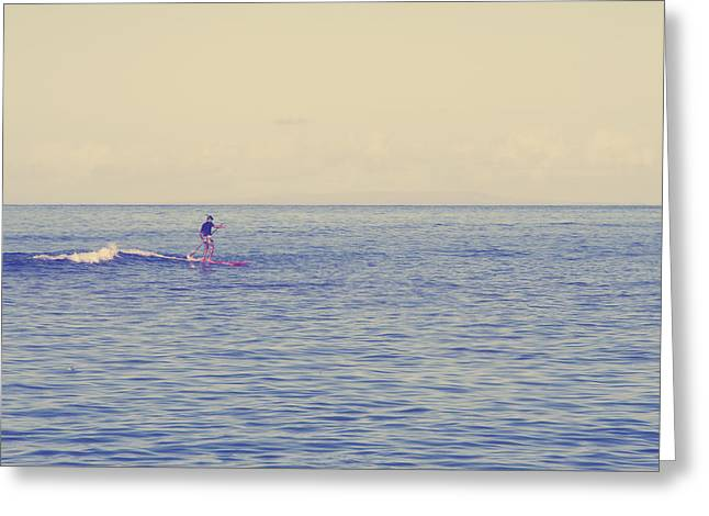 Lahaina Greeting Cards - Paddle Surf 2 Greeting Card by Jessica Velasco