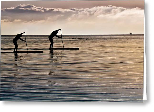 Canada Greeting Cards - Paddle Surfing Greeting Card by Eva Kondzialkiewicz