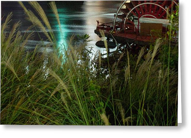 Paddle Wheel Greeting Cards - Paddle wheel on the River by Night Greeting Card by Douglas Barnett