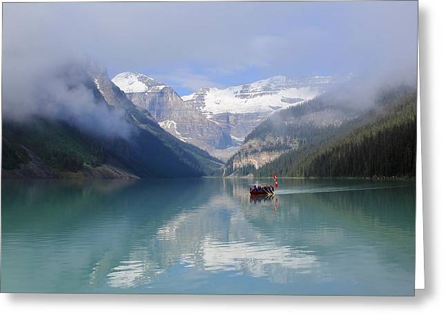Canoe Greeting Cards - Paddle Your Canoe Lake Louise Greeting Card by Mo Barton