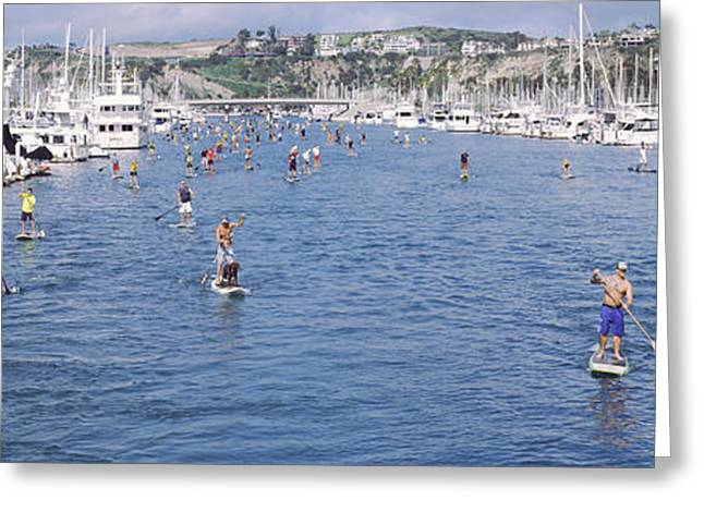 Sailboat Images Greeting Cards - Paddleboarders In The Pacific Ocean Greeting Card by Panoramic Images