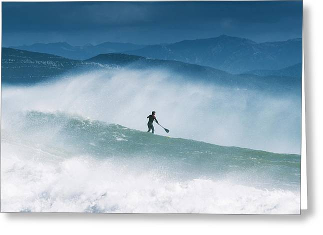 Surf Silhouette Greeting Cards - Paddleboarding In The Waves Along The Greeting Card by Ben Welsh