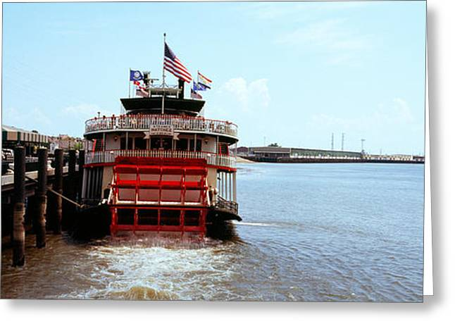 Mississippi River Scene Greeting Cards - Paddleboat Natchez In A River Greeting Card by Panoramic Images