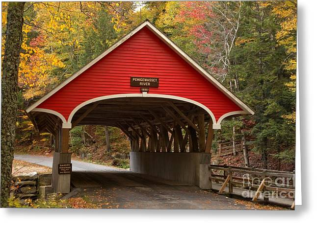 New England Covered Bridges Greeting Cards - Paddleford Truss Bridge At Franconia Notch Greeting Card by Adam Jewell