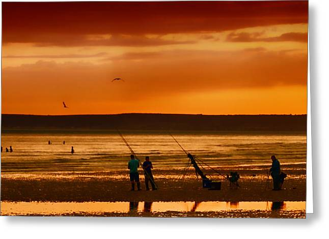 Swimmers Greeting Cards - Paddlers and Anglers Greeting Card by Sharon Lisa Clarke