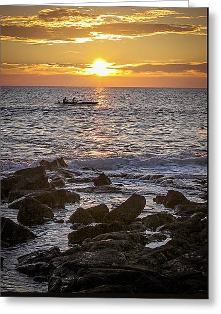 Canoe Photographs Greeting Cards - Paddlers At Sunset Portrait Greeting Card by Denise Bird