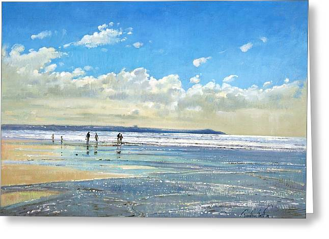 On The Beach Greeting Cards - Paddling at the Edge Greeting Card by Timothy  Easton