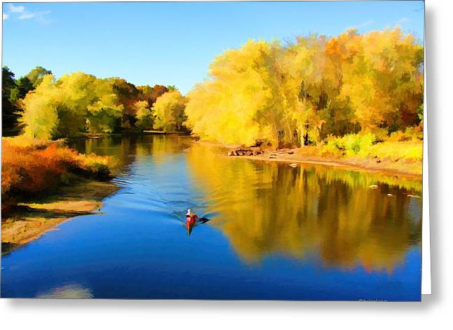 Concord Greeting Cards - Paddling Down the Concord River Greeting Card by Tom Christiano