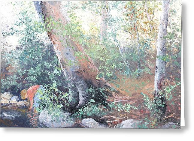 Impressionist Creek Oil Paintings Greeting Cards - Paddling Greeting Card by Jan Matson