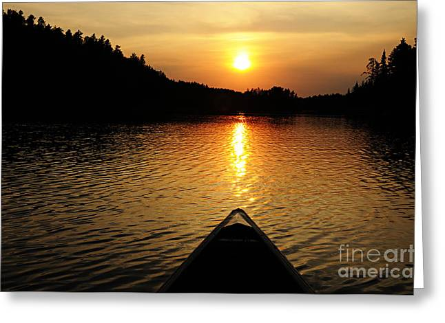 Lhr Images Greeting Cards - Paddling Off Into the Sunset Greeting Card by Larry Ricker