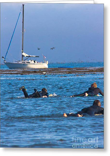 Santa Cruz Surfing Greeting Cards - Paddling Out Greeting Card by George  Saitas