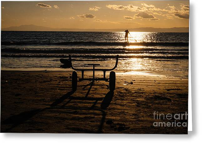Kamakura Greeting Cards - Paddling Out into the Sunset Greeting Card by Dean Harte
