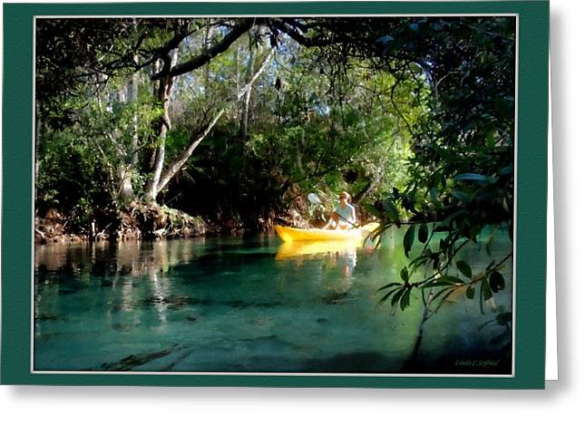 Kayak Mixed Media Greeting Cards - Paddling the Weeki Wachee Greeting Card by Linda Seifried
