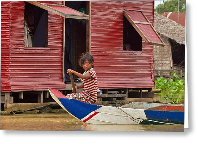 Floating Girl Greeting Cards - Paddling through the village Greeting Card by David Freuthal