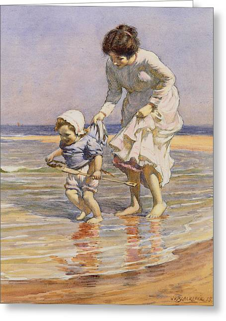 Children At Beach Greeting Cards - Paddling Greeting Card by William Kay Blacklock