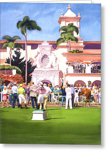Horse Racing Paintings Greeting Cards - Paddock at Del Mar Greeting Card by Mary Helmreich