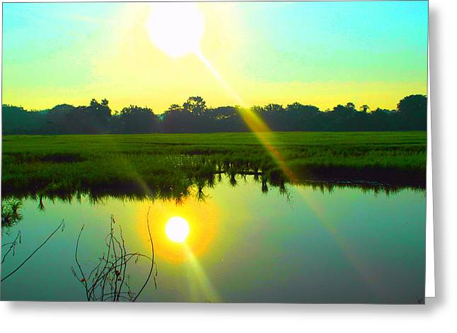 Summer Greeting Cards - Paddy Field Sunset View  Greeting Card by Francis Tan