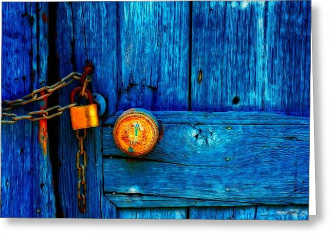 Wooden Building Mixed Media Greeting Cards - Padlocked Blue Wooden Door Greeting Card by Ken Biggs