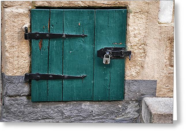 Wooden Building Greeting Cards - Padlocked Door Greeting Card by Mountain Dreams