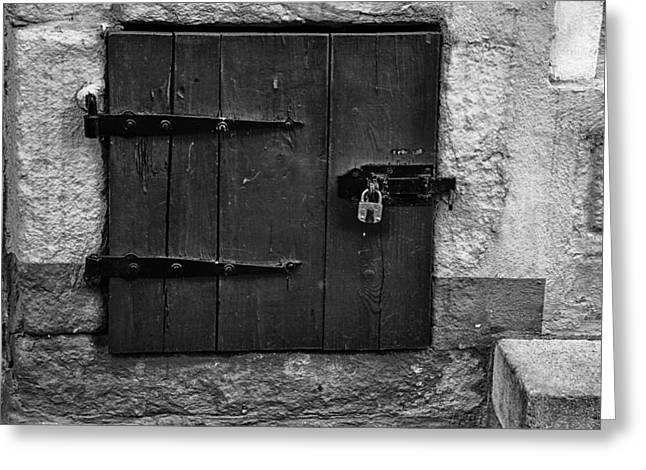 Wooden Building Greeting Cards - Padlocked Window Greeting Card by Mountain Dreams