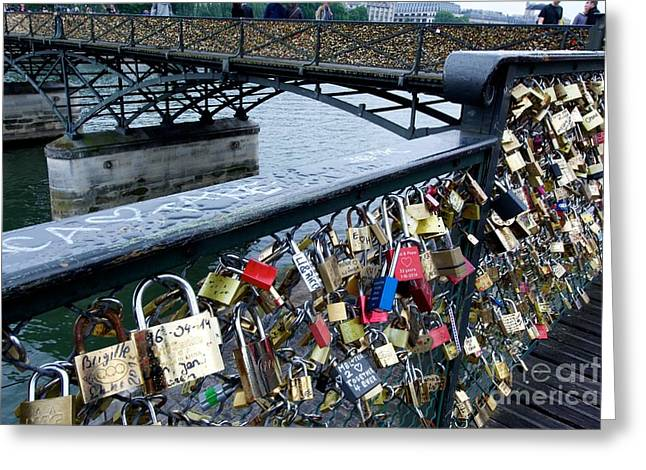 Attach Greeting Cards - Padlocks on The Pont des Arts. Paris. France Greeting Card by Bernard Jaubert