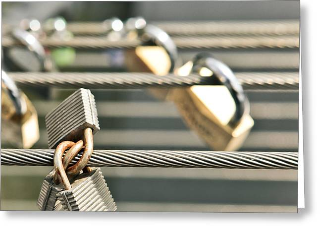 Cables Greeting Cards - Padlocks Greeting Card by Tom Gowanlock