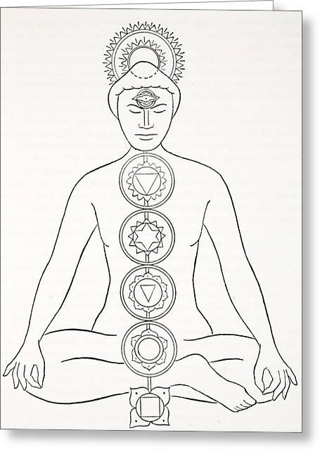 Meditation Drawings Greeting Cards - Padmasana Or Lotus Position Greeting Card by English School