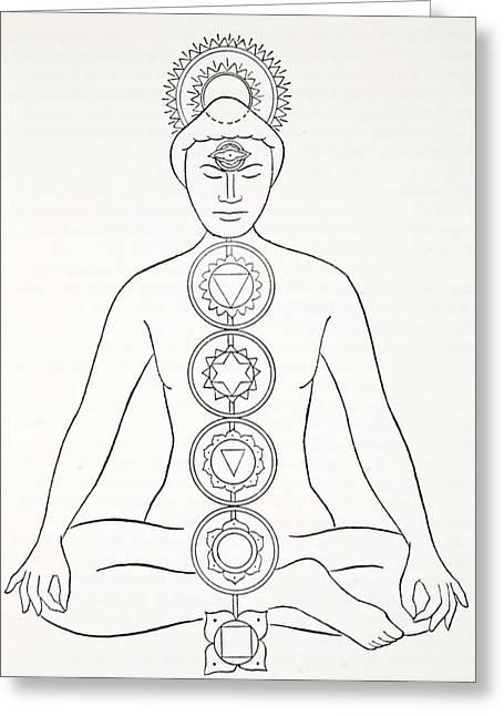 Padmasana Or Lotus Position Greeting Card by English School
