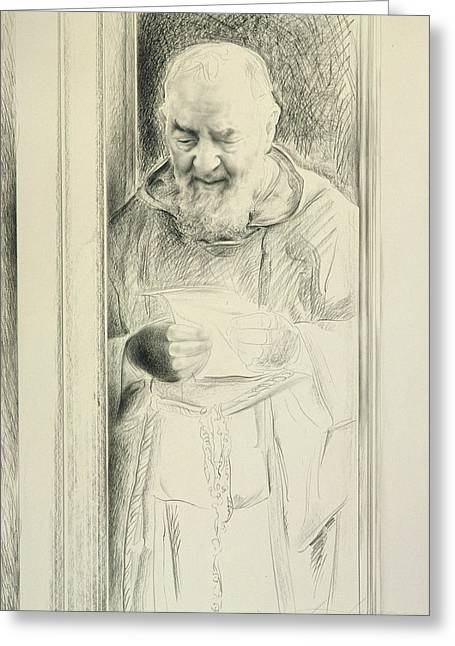 Padre Pio, 1988-89 Charcoal On Paper Greeting Card by Antonio Ciccone