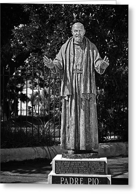 The Big Three Greeting Cards - Padre Pio - St Louis Cemetery No3 New Orleans Greeting Card by Christine Till