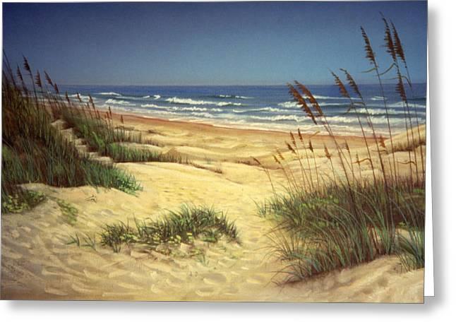 Sand Dunes Pastels Greeting Cards - Padre Sand Dunes Greeting Card by Daniel Bourbonnais