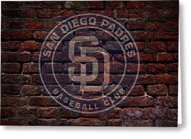Centerfield Greeting Cards - Padres Baseball Graffiti on Brick  Greeting Card by Movie Poster Prints