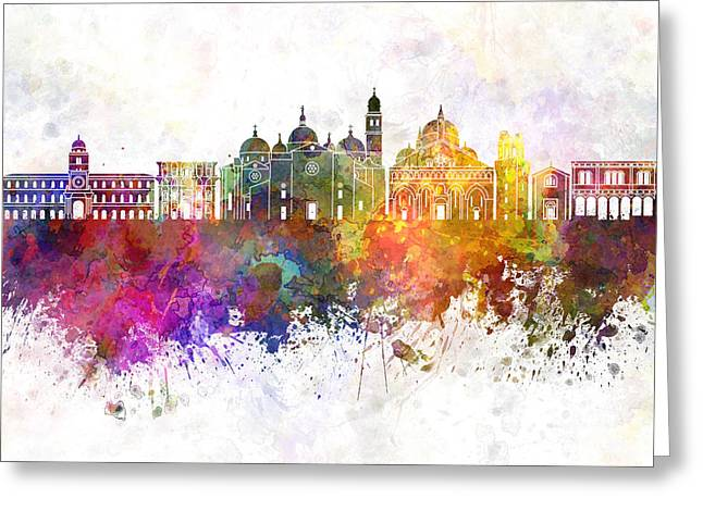 Padua Greeting Cards - Padua skyline in watercolor background Greeting Card by Pablo Romero