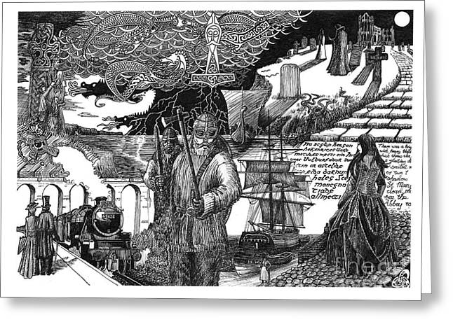 Thor Drawings Greeting Cards - Paean to Whitby Greeting Card by Anthony Hodgson