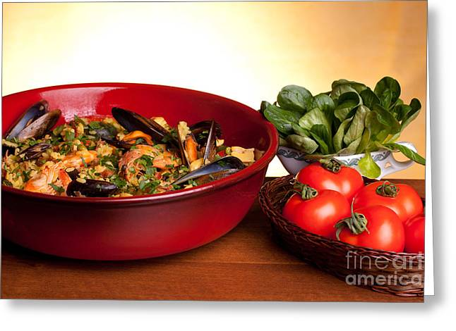 Paella Greeting Cards - Paella And Tomatoes Greeting Card by Ezeepics