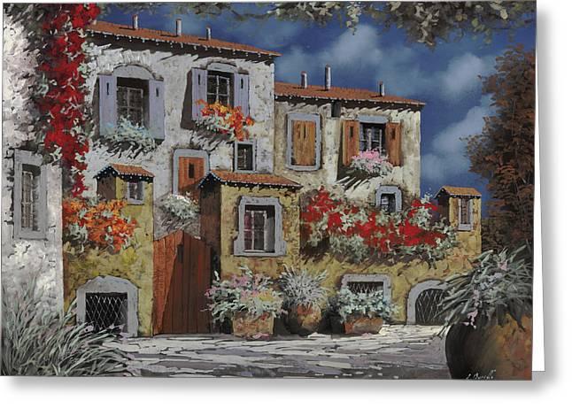 Old Street Greeting Cards - Paesaggio Al Chiar Di Luna Greeting Card by Guido Borelli
